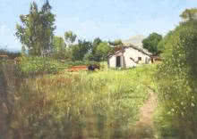 Landscape Oil Art Painting title 'A Grange' by artist Vivek Vadkar
