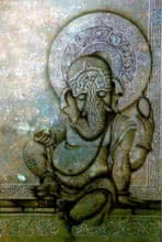 Religious Mixed-media Art Painting title 'Ganesha With Blessings' by artist Mohd. Shakeel Saifi