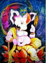 Religious Oil Art Painting title 'Lord Ganesha with a unique look' by artist Mohd. Shakeel Saifi