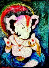 Religious Oil Art Painting title Lord Ganesha with a unique look by artist Mohd. Shakeel Saifi