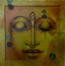 Religious Mixed-media Art Painting title Impression Of Buddha by artist Mohd. Shakeel Saifi