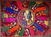 Religious Acrylic Art Painting title 'dancing' by artist Preeti Das