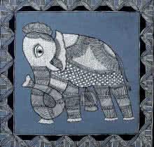Preeti Das Paintings | Acrylic Painting - Elephant by artist Preeti Das | ArtZolo.com