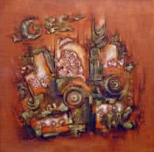 Abstract Acrylic Art Painting title Ethenic Art by artist Suman Dongre