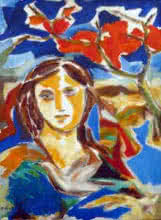 Swami | Acrylic Painting title Hued Girl on Canvas | Artist Swami Gallery | ArtZolo.com