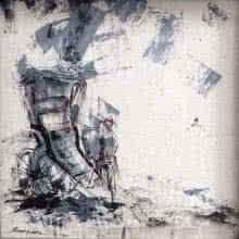 The Rickshaw Puller | Painting by artist Suchandra Sen | acrylic | Canvas
