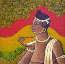 Suhas | Acrylic Painting title Tribal Man on Canvas | Artist Suhas Gallery | ArtZolo.com