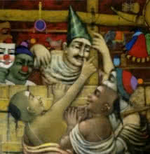 Figurative Acrylic Art Painting title 'Toy Seller' by artist Apet Pramod