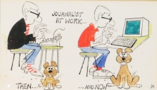 Figurative Mixed-media Art Drawing title 'Journalists At Work Then And Now' by artist Mario Miranda
