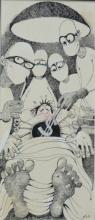 Figurative Pen-ink Art Drawing title 'Untitled 103' by artist Mario Miranda