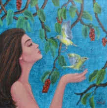 Figurative Acrylic Art Painting title 'Dulcet Dream 2' by artist Vani Chawla
