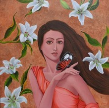 Figurative Acrylic Art Painting title 'Dulcet Dream 3' by artist Vani Chawla