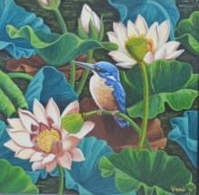 Bird In Lotus Pond 7 | Painting by artist Vani Chawla | acrylic | canvas