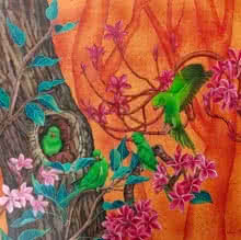 Animals Acrylic Art Painting title 'The Quartet' by artist Vani Chawla