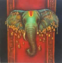 Figurative Acrylic Art Painting title 'Lord Ganapati' by artist Sonia Kumar