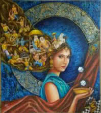 Surrealist Acrylic Art Painting title 'draupadi' by artist Sonia Kumar