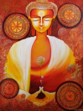 Religious Acrylic Art Painting title 'Buddha - A Journey Towards Enlightenment' by artist NITU CHHAJER
