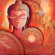 Religious Acrylic Art Painting title Buddha - Awakening Consciousness by artist NITU CHHAJER