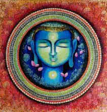 NITU CHHAJER | Acrylic Painting title Buddha The Rise Of Soul Conciousness on canvas | Artist NITU CHHAJER Gallery | ArtZolo.com