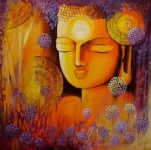 Silent Buddha | Painting by artist NITU CHHAJER | acrylic | Canvas