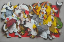 Figurative Acrylic Art Painting title 'Folk Dance 5' by artist Uttam Manna