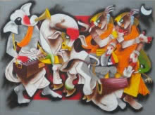 Figurative Acrylic Art Painting title 'Folk Dance 6' by artist Uttam Manna