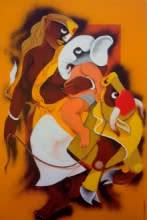 Religious Acrylic Art Painting title 'Village Family' by artist Uttam Manna