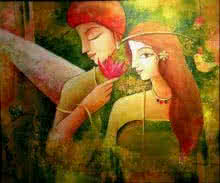 Figurative Mixed-media Art Painting title Unconventional Love by artist Indrani Acharya