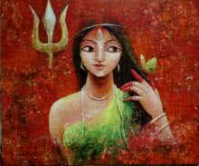 Religious Acrylic Art Painting title Her Power by artist Indrani Acharya