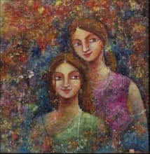 Figurative Acrylic Art Painting title Two Sisters by artist Indrani Acharya