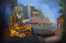 Religious Acrylic-oil Art Painting title Indian Sadhu by artist Gopal Sharma