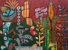 #flowers#collage#popart#modern#red#orange#green#folk