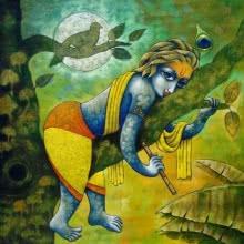 Ramchandra B Pokale | Acrylic Painting title Bansidhar 43 on Canvas | Artist Ramchandra B Pokale Gallery | ArtZolo.com