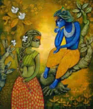 Religious Acrylic Art Painting title 'Bansidhar 15' by artist Ramchandra B Pokale