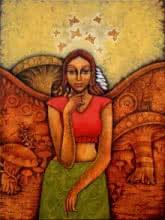 Figurative Acrylic Art Painting title 'Yauvana 26' by artist Ramchandra B Pokale