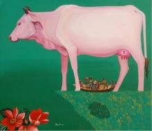 Figurative Acrylic Art Painting title 'Cow' by artist Goutam Pal