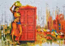 Figurative Oil-pastel Art Painting title 'Enter At Your Own Risk' by artist Tejinder Ladi Singh
