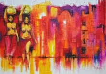 Nude Oil-pastel Art Painting title 'Expressions Of Emancipation 2' by artist Tejinder Ladi Singh