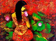 Figurative Acrylic Art Painting title Beauty With Nature by artist Mukesh Salvi