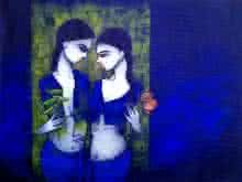 Girls in Blue | Painting by artist Mukesh Salvi | acrylic | Canvas