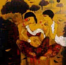 Figurative Acrylic Art Painting title Love With Nature 2 by artist Mukesh Salvi