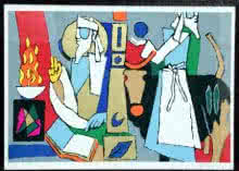 Figurative Serigraphs Art Painting title 'Theorama Series VII' by artist M F husain