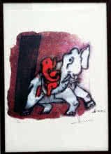Abstract Serigraphs Art Painting title Ganesha III (Ashtavinayak series) by artist M F husain