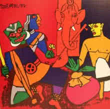 Figurative Serigraphs Art Painting title 'Kathak Dance (Kerala Series)' by artist M F husain