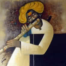 Figurative Oil Art Painting title Flute II by artist RAOSAHEB GURAV