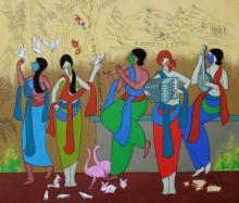 contemporary Acrylic Art Painting title 'Cheerfulness' by artist Chetan Katigar