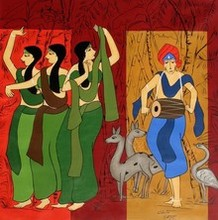 Figurative Acrylic Art Painting title Chorus Gilrs by artist Chetan Katigar