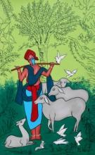 contemporary Acrylic Art Painting title 'Cowman' by artist Chetan Katigar