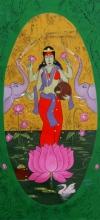 Figurative Acrylic Art Painting title Dhan Laxmi by artist Chetan Katigar