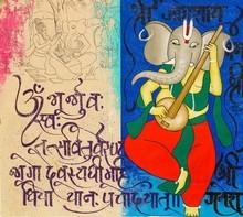 Religious Acrylic Art Painting title 'Gajanan' by artist Chetan Katigar